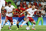 Georgia's Amisulashvili, Tsiskaraidze and Spain's Pedro Rodriguez during the up match between Spain and Georgia before the Uefa Euro 2016.  Jun 07,2016. (ALTERPHOTOS/Rodrigo Jimenez)