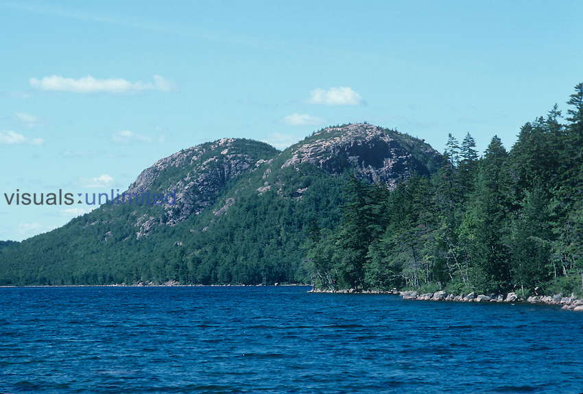 Glaciated peaks called The Bubbles and Jordon Pond, Acadia National Park, Maine, USA.