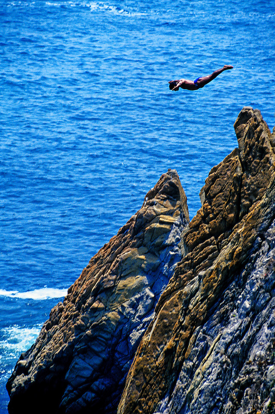 Cliff diver at La Quebrada, Acapulco, Mexico