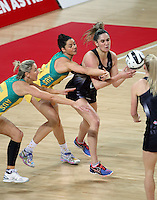 15.10.2016 Silver Ferns Te Paea Selby-Rickit and Australia's Sharni Layton in action during the Silver Ferns v Australia netball test match played at Vector Arena in Auckland. Mandatory Photo Credit ©Michael Bradley.