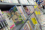 Extreme manga with themes such as child sex are lined on the shelves of a store in Tokyo Japan.