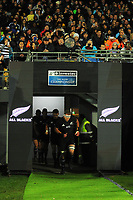 Kieran Read leads the All Blacks out for the Rugby Championship match between the NZ All Blacks and Argentina Pumas at Yarrow Stadium in New Plymouth, New Zealand on Saturday, 9 September 2017. Photo: Dave Lintott / lintottphoto.co.nz
