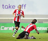 Exeter City's Hiram Boateng celebrates scoring his sides second goal<br /> <br /> Photographer Chris Vaughan/CameraSport<br /> <br /> The EFL Sky Bet League Two Play Off Second Leg - Exeter City v Lincoln City - Thursday 17th May 2018 - St James Park - Exeter<br /> <br /> World Copyright &copy; 2018 CameraSport. All rights reserved. 43 Linden Ave. Countesthorpe. Leicester. England. LE8 5PG - Tel: +44 (0) 116 277 4147 - admin@camerasport.com - www.camerasport.com