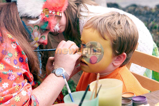 Stephen Radford getting his face painted at the openig of the new childrens area at Sonairte..Picture Paul Mohan Newsfile