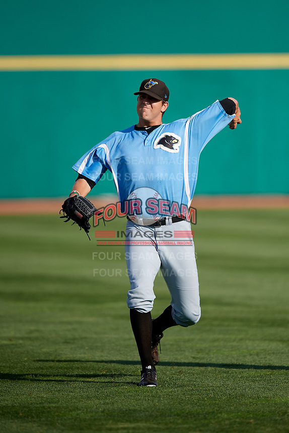 West Virginia Black Bears pitcher Zach Spears (67) warms up before a game against the State College Spikes on August 30, 2018 at Medlar Field at Lubrano Park in State College, Pennsylvania.  West Virginia defeated State College 5-3.  (Mike Janes/Four Seam Images)