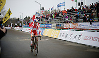 Simon Andreassen (DEN) solo across the finish line<br /> <br /> Men Juniors Race<br /> <br /> 2015 UCI World Championships Cyclocross <br /> Tabor, Czech Republic