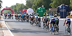 The start of Stage 3, The Al Ain Stage, of the 2015 Abu Dhabi Tour starting from the Al Qattara Souq in Al Ain and running 129 km to the mountain top finish at Jebel Hafeet at 1025 metres, Abu Dhabi. 10th October 2015.<br /> Picture: ANSA/Claudio Peri | Newsfile
