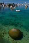 Lake Tahoe's whale beach in spring with cool boulders