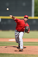 Los Angeles Angels of Anaheim pitcher Justin Anderson (39) during an Instructional League game against the Milwaukee Brewers on October 9, 2014 at Tempe Diablo Stadium Complex in Tempe, Arizona.  (Mike Janes/Four Seam Images)
