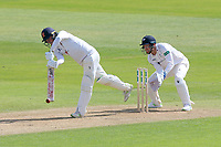 Daniel Lawrence in batting action for Essex as Johnny Bairstow looks on from behind the stumps during Essex CCC vs Yorkshire CCC, Specsavers County Championship Division 1 Cricket at The Cloudfm County Ground on 4th May 2018