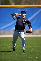 New York Yankees Zack Zehner (64) during practice before a minor league Spring Training game against the Toronto Blue Jays on March 22, 2016 at Englebert Complex in Dunedin, Florida.  (Mike Janes/Four Seam Images)