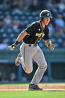 Catcher Mack Nathanson (34) of the Wofford Terriers in a SoCon Tournament game against Western Carolina on Wednesday, May 25, 2016, at Fluor Field at the West End in Greenville, South Carolina. Western won, 10-9. (Tom Priddy/Four Seam Images)