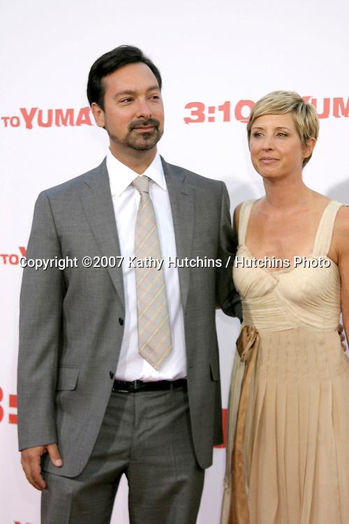 "James Mangold & Cathy Konrad.""3:10 To Yuma"" Premiere.Westwood,  CA.Aug 21, 2007.©2007 Kathy Hutchins / Hutchins Photo...."