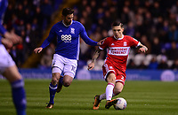 Lukas Jutkiewicz of Birmingham battles for the ball with Mo Besi of Middlesbrough during the Sky Bet Championship match between Birmingham City and Middlesbrough at St Andrews, Birmingham, England on 6 March 2018. Photo by Bradley Collyer / PRiME Media Images.