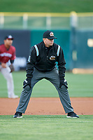 Umpire Sean Allen handles the calls on the bases during the game between the Salt Lake Bees and the Sacramento River Cats at Smith's Ballpark on April 12, 2019 in Salt Lake City, Utah. The River Cats defeated the Bees 4-2. (Stephen Smith/Four Seam Images)