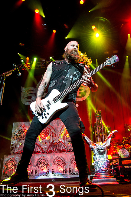 Chris Kael of Five Finger Death Punch performs during the 2013 Mayhem Festival at Klipsch Music Center in Indianapolis, Indiana.