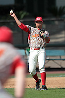 K.J. Hockaday #8 of the Maryland Terrapins makes a throw against the UCLA Bruins at Jackie Robinson Stadium on February 19, 2012 in Los Angeles,California. Maryland defeated UCLA 5-1.(Larry Goren/Four Seam Images)