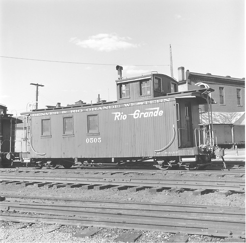 Long caboose #0505 in yard at Durango.<br /> D&amp;RGW  Durango, CO  Taken by DeGolyer, E. L. Jr. - negative 7/1993