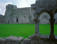 County Mayo, Ireland        <br /> Three arched doorways on the wetern wall of the 11th century Cong Abbey viewed from across the green cloister