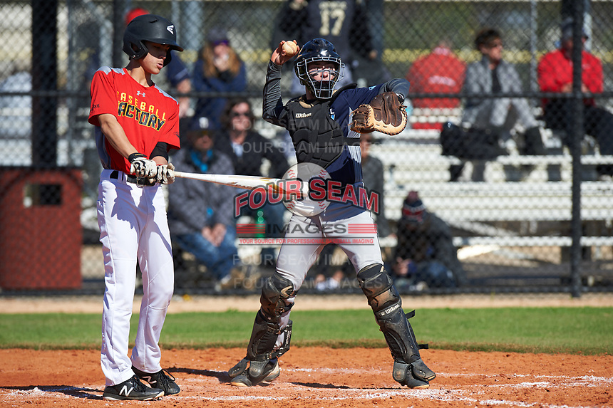 Cole Friend (9) of Carlsbad, California during the Baseball Factory All-America Pre-Season Rookie Tournament, powered by Under Armour, on January 14, 2018 at Lake Myrtle Sports Complex in Auburndale, Florida.  (Michael Johnson/Four Seam Images)