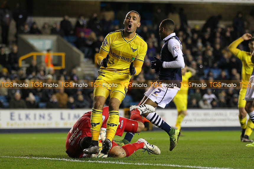 Frustration for Kemar Roofe of Oxford United as he goes close to a goal during Millwall vs Oxford United at The Den