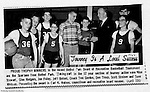 Bethel Park PA: Bethel Recreation Basketball Tournament at Bethel Junior High School on Park Avenue.  This team won the first place trophy for 12 year olds - 1966.  Mike Stewart, Glenn Rodgers, Jon Foley, Jeff Blosel, Don Troup, Scott Streiner, and Dave Whitmer and Coach Tom Gordon.