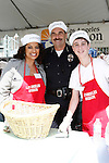April 2, 2010: Michaela Pereira, Los Angeles Police Chief Charlie Beck and Ster at the LA Mission Easter Luncheon event for the homeless in Los Angeles, California. .Photo by Nina Prommer/Milestone Photo.