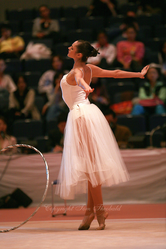 Anna Bessonova of Ukraine performs ballet steps with hoop during gala exhibition at 2006 Aeon Cup Worldwide Club Championships in rhythmic gymnastics on November19, 2006.<br />