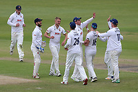 Jamie Porter of Essex celebrates taking the wicket of Ed Barnard during Worcestershire CCC vs Essex CCC, Specsavers County Championship Division 1 Cricket at Blackfinch New Road on 12th May 2018