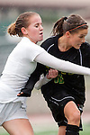 Palos Verdes, CA 01/26/10 - Hailey Smith (2) and Kelsey Pio (MC #16) in action during the Mira Costa vs Palos Verdes Girls Varsity soccer game at Palos Verdes High School.