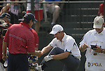USA Team Captain Paul Azinger shakes Padraig Harrington's hand on the 1st tee during the Singles on the Final Day of the Ryder Cup at Valhalla Golf Club, Louisville, Kentucky, USA, 21st September 2008 (Photo by Eoin Clarke/GOLFFILE)