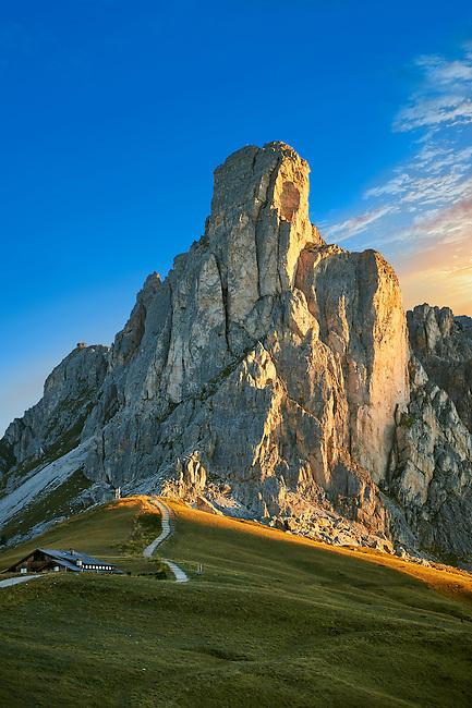 Nuvolau at sunset mountain above the Giau Pass (Passo di Giau), Colle Santa Lucia, Dolomites, Belluno, Italy