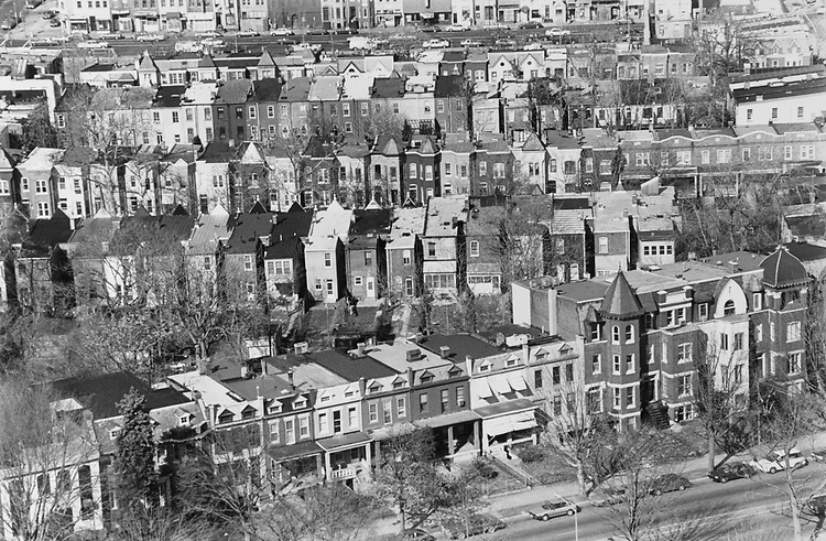 Aerial View of Capitol Hill Neighborhood, on Feb. 17, 1992. (Photo by Maureen Keating/CQ Roll Call via Getty Images)
