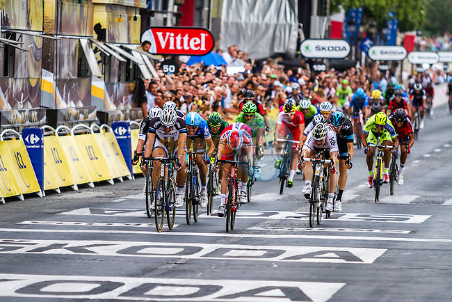 Marcel Kittel, Giant Shimano, sprints to stage win before Alexander Kristoff, Katusha, Tour de France, Stage 21: Évry > Paris Champs-Élysées, UCI WorldTour, 2.UWT, Paris Champs-Élysées, France, 27th July 2014, Photo by Thomas van Bracht