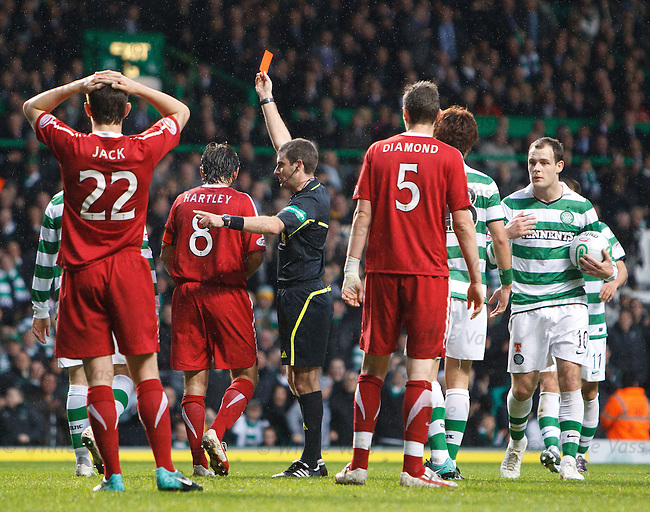 Aberdeen's Paul Hartley sent off by referee Alan Muir for handball as Anthony Stokes frepares to take penalty kick