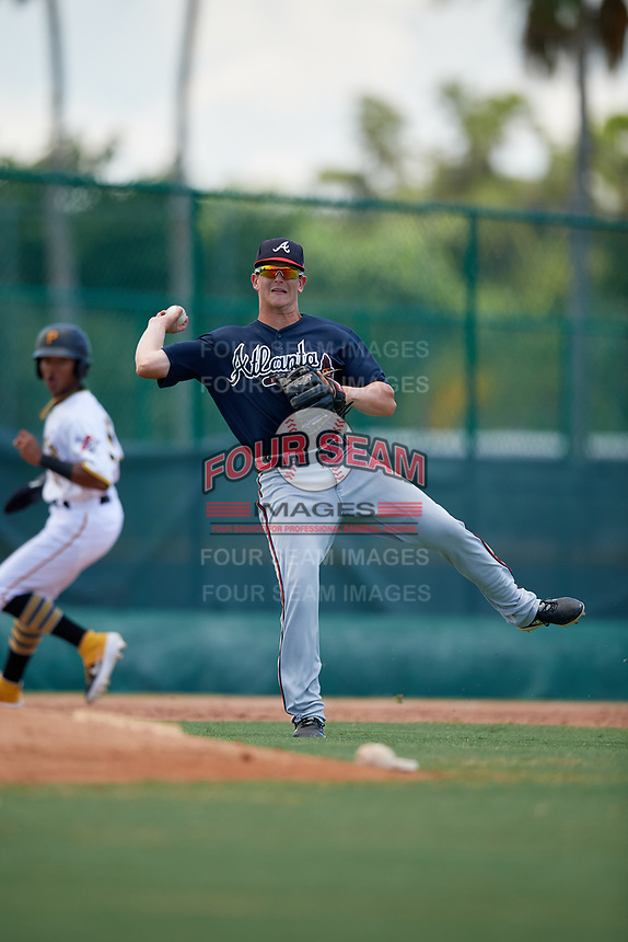 GCL Braves third baseman Cade Bunnell (25) throws to first base during a Gulf Coast League game against the GCL Pirates on July 30, 2019 at Pirate City in Bradenton, Florida.  GCL Braves defeated the GCL Pirates 10-4.  (Mike Janes/Four Seam Images)