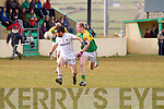 Skellig Rangers Bernard Walsh challenge on Dromids Aodhán O'Connor foils yet another Dromid attack.