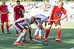 Mannheim, Germany, October 13: During the 1. Bundesliga men fieldhockey match between Mannheimer HC (white) and Grossflottbeker THGC (red) on October 13, 2019 at Am Neckarkanal in Mannheim, Germany. Final score 3-0 (HT 1-0). (Copyright Dirk Markgraf / 265-images.com) ***