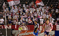 Chivas USA fans hold up the number 9 placard during the 9th minute in continuing support of injured US Mens National team member Charlie Davis. Chivas USA and the San Jose Earthquakes played to a 2-2 draw at Home Depot Center stadium in Carson, California on Saturday October 17, 2009...