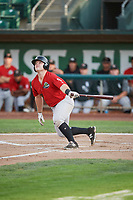 Adam McGinnis (12) of the Great Falls Voyagers bats against the Ogden Raptors at Lindquist Field on August 22, 2018 in Ogden, Utah. Great Falls defeated Ogden 3-1. (Stephen Smith/Four Seam Images)