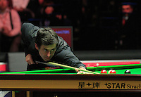 Ronie O'Sullivan plays a shot on the black ball during the Dafabet Masters FINAL between Barry Hawkins and Ronnie O'Sullivan at Alexandra Palace, London, England on 17 January 2016. Photo by Liam Smith / PRiME Media Images