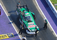 Apr. 28, 2012; Baytown, TX, USA: Aerial view of NHRA crew members for funny car driver John Force during qualifying for the Spring Nationals at Royal Purple Raceway. Mandatory Credit: Mark J. Rebilas-
