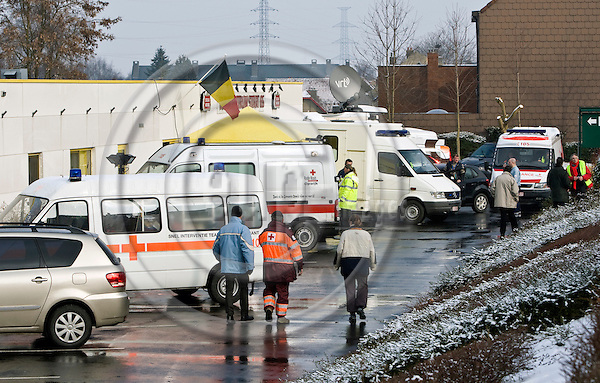 BRUSSELS - BELGIUM - 15 FEBRUARY 2010 -- Two passenger trains collided head- on in Halle, a Flemish town outside Brussels, at about 8:30 a.m. local time killing 20 people, news agency Belga said. -- A nearby sports center to the crash site, was used to treat the injured.  -- PHOTO: Juha ROININEN / EUP-IMAGES
