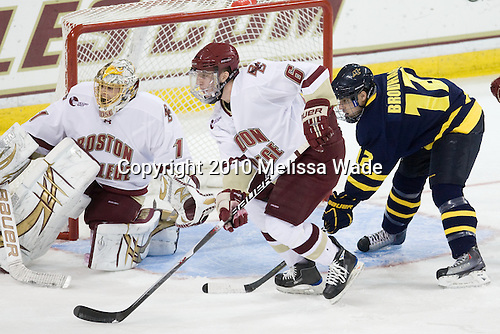 John Muse (BC - 1), Patrick Wey (BC - 6), Brandon Brodhag (Merrimack - 12) - The Boston College Eagles defeated the visiting Merrimack College Warriors 3-2 on Friday, October 29, 2010, at Conte Forum in Chestnut Hill, Massachusetts.