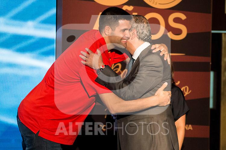 Felipe Reyes during the 80th Aniversary of the National Basketball Team at Melia Castilla Hotel, Spain, September 01, 2015. <br /> (ALTERPHOTOS/BorjaB.Hojas)