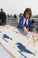 Inupiaq eskimo Nalukataq festival in Utqiagvik (Barrow), Alaska. Cakes made in honor of the successful whale hunting crews.
