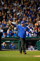 Chicago Cubs Hall of Fame member Ryne Sandberg waves to the crowd before throwing out the ceremonial first pitch before Game 5 of the Major League Baseball World Series against the Cleveland Indians on October 30, 2016 at Wrigley Field in Chicago, Illinois.  (Mike Janes/Four Seam Images)
