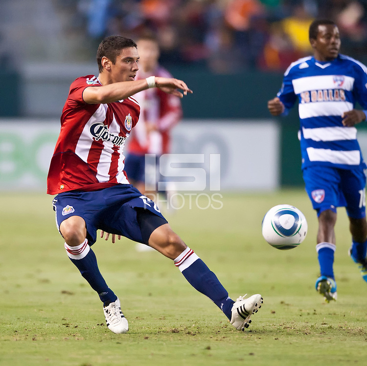 CARSON, CA – June 18, 2011: Chivas USA defender Zarek Valentin (20) during the match between Chivas USA and FC Dallas at the Home Depot Center in Carson, California. Final score Chivas USA 1, FC Dallas 2.