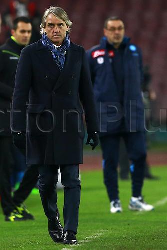 19.01.2016. Naples, Italy. Italian Cup football, Napoli versus Inter Milan. Roberto Mancini Inter walks away from Maurizio Sarri Napoli