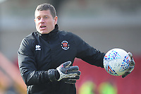 Blackpool Goalkeeping Coach Steve Banks during the pre-match warm-up <br /> <br /> Photographer Kevin Barnes/CameraSport<br /> <br /> The EFL Sky Bet League One - Fleetwood Town v Blackpool - Saturday 7th March 2020 - Highbury Stadium - Fleetwood<br /> <br /> World Copyright © 2020 CameraSport. All rights reserved. 43 Linden Ave. Countesthorpe. Leicester. England. LE8 5PG - Tel: +44 (0) 116 277 4147 - admin@camerasport.com - www.camerasport.com
